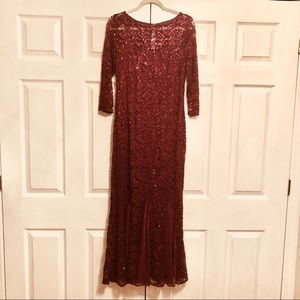 3/4 Sleeve Sequin Lace Evening Gown